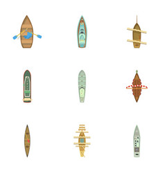 Passenger boat icons set cartoon style vector