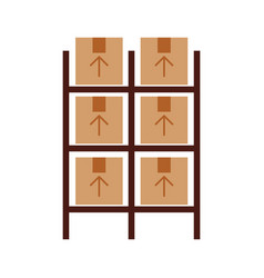 Pile boxes carton in shelf delivery icon vector