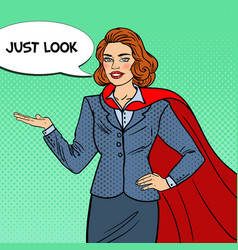 pop art smiling super businesswoman in red cape vector image