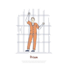 Prisoner behind bars inmate in jail cell vector