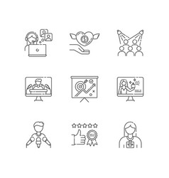 Promotion pixel perfect linear icons set vector
