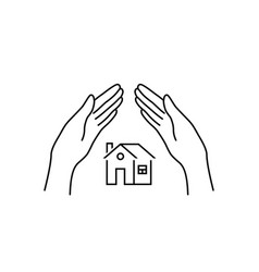 real estate insurance with linear hands vector image