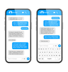 Realistic smartphone with messaging app blank sms vector