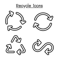 recycle icon set in outline style vector image