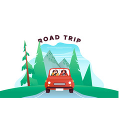 road trip vacation concept people driving car vector image