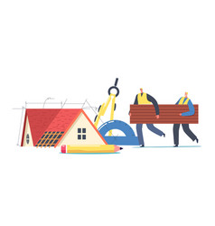 roofers or workers male characters carry piece vector image