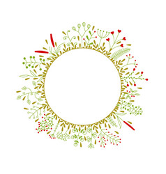 Round frame with beautiful flowers vector