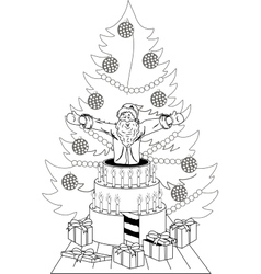 Santa Claus jump out of the cake vector