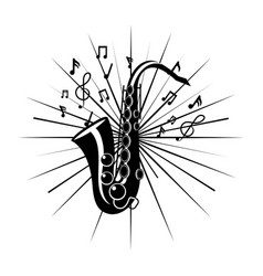 Saxophone with music notes vector