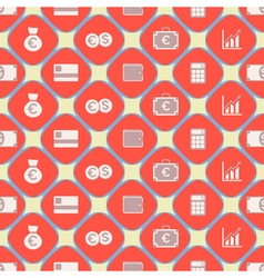 Seamless background with financial icons vector image