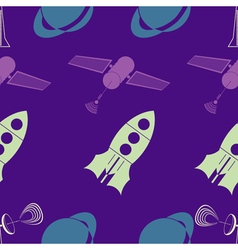 Seamless background with sputnik rocket vector image