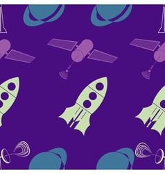 Seamless background with sputnik rocket vector