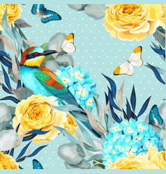 Seamless pattern with birds and roses vector