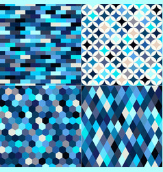 seamless shiny blue colorful geometric pattern set vector image