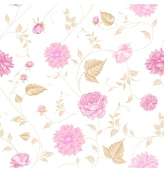 seamless texture pink roses for textiles vector image