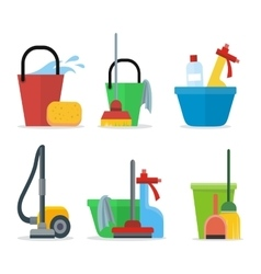 Set cleaning equipment vector