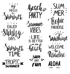 set hand drawn summer theme phrases vector image