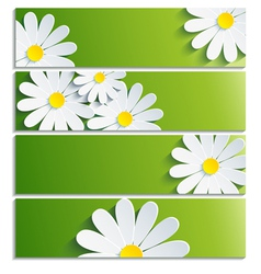Set of banners with 3d flower chamomile vector