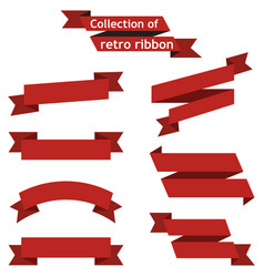 set red ribbons on a white background vector image