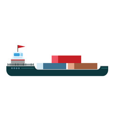 Ship boat sea isolated tanker vector