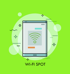Smartphone or tablet pc screen with wi-fi symbol vector