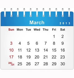 Stylish calendar page for March 2013 vector image