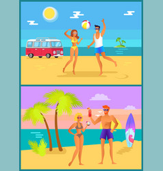 summer collection activities vector image
