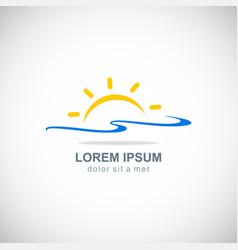 Sun rise beach logo vector