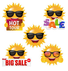 Sun smile collection isolated white background vector