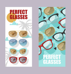 Sunglasses fashionable accessory set banners vector
