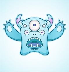 Surprised blue monster vector