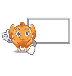 thumbs up with board roast chicken on a mascot vector image