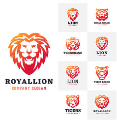 Tiger and lions face logo badge strength predator vector