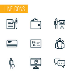 trade icons line style set with group billfold vector image