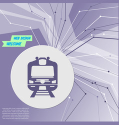 train icon on purple abstract modern background vector image