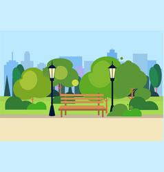 urban park wooden bench street lamp green lawn vector image