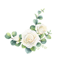 Watercolor bouquet with eucalyptus leaves vector