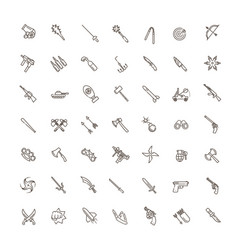 weapons icons set cold steel arms vector image