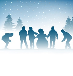 Winter and children vector