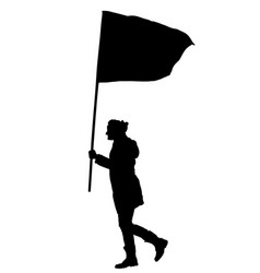 Woman walking with flag silhouette protester vector