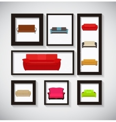 Abstract Gallery Background with Sofa Icon Set vector image vector image