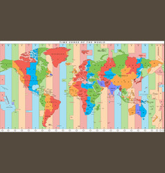 detailed world map with time zones vector image