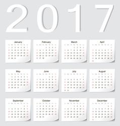 European 2017 calendar with shadow angles vector image vector image