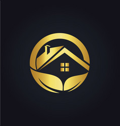 home roof organic business gold logo vector image vector image