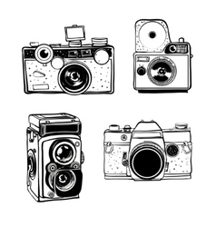 Retro photo camera set doodle vector image