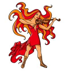 Violinist girl vector image