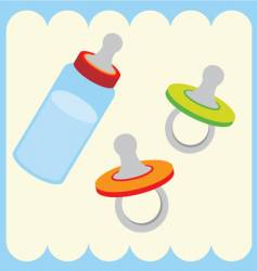 baby bottle and dummy vector image