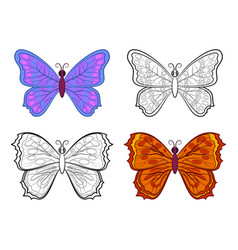 butterflies contour and colorful vector image vector image