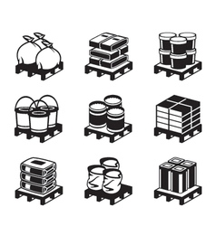 Pallets with building materials vector image vector image