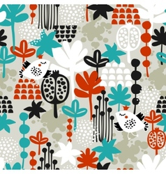 Seamless pattern with birds in crown vector image